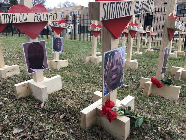 An empty lot in the 5500 block of South Bishop was transformed into a memorial for Chicago gunshot victims who died in January.