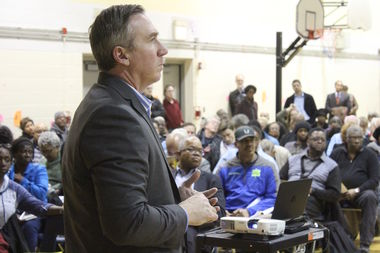 Chicago Park District Supt. Mike Kelly visited Ald. Leslie Hairston's 5th Ward meeting Tuesday night to answer questions about merging the South Shore and Jackson Park golf courses.