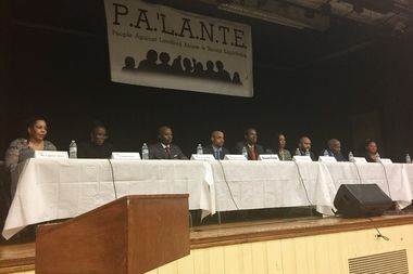 Candidates for the open council seat in Harlem at the housing debate Tuesday, Jan. 25. From left to right, Caprice Alves, Cordell Cleare, Charles Cooper, Donald Fields, Marvin Holland, Athena Moore, Troy Outlaw, Bill Perkins and Dawn Simmons.