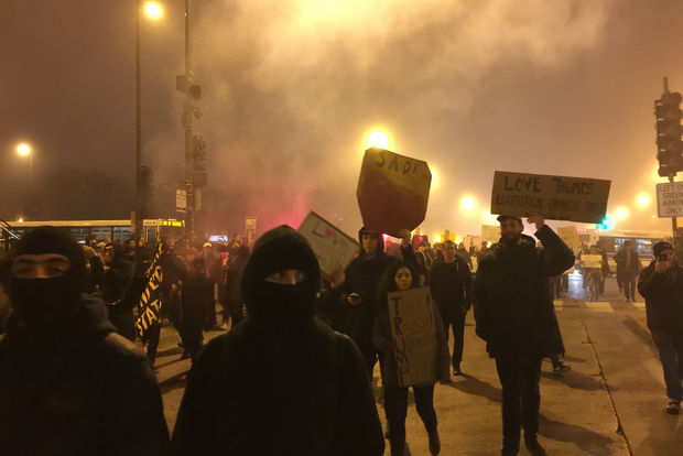 Activists say they're going to protest Donald Trump's administration every Tuesday night in the Loop. Here's a scene from last Friday's protest on Inauguration Day.