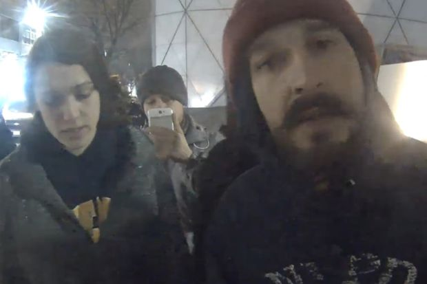 Shia LaBeouf outside the Museum of the Moving Image minutes before he was arrested.