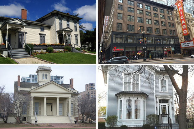 Some of Chicago's oldest landmarked buildings (from top left clockwise): Noble-Seymour-Crippen House (1833); Page Brothers Building (1872); Charles D. Iglehart House (1857); and Henry B. Clarke House (around 1836)