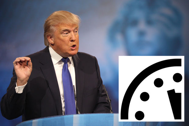 The Bulletin of the Atomic Scientists has moved the hands of its Doomsday Clock the closest to midnight since 1953, due in large part to Donald Trump's election.