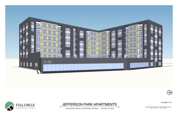 A rendering for the seven-story, 100-unit apartment complex proposed at 5150 N. Northwest Hwy.