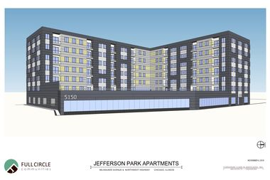 A rendering for a seven-story, 100-unit apartment complex at 5150 N. Northwest Hwy.