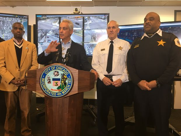 Police Supt. Eddie Johnson with Mayor Emanuel Friday morning before the city's top cop fainted.