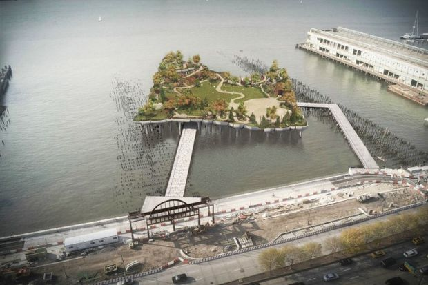An updated rendering of the Pier55 design since the Hudson River Park requested to modify their original proposal.