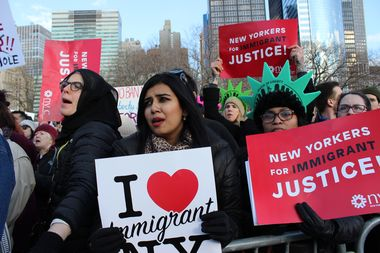 Thousands gathered in Battery Park to protest Donald Trump's Muslim ban Sunday afternoon.