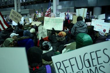 Protesters at O'Hare came out against a travel ban issued by President Donald Trump