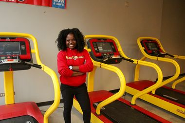 From a small preview center at 4007 N. Milwaukee Ave., manager Aida Sinka showcases some of the equipment in store for the Retro Fitness gym opening in the spring.