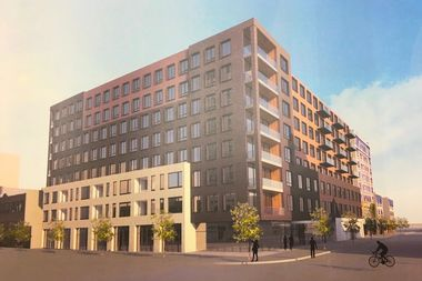 A 147-unit apartment building with retail is proposed at 975 W. Wilson Avenue.