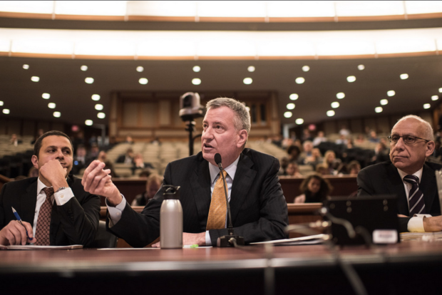 Mayor Bill de Blasio said he's willing to add to the list of 170 felony criminal offenses for which it will cooperate with federal authorities to deport the perpetrator during a budget hearing in Albany Monday as part of testy questioning and exchange with Republican state Assemblywoman Nicole Malliotakis.