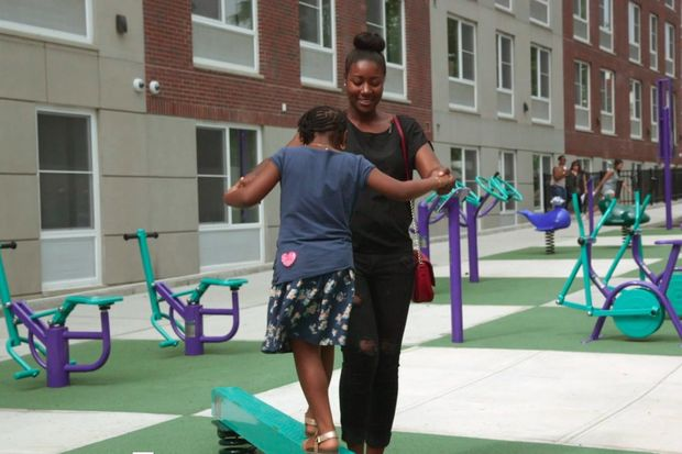 Tenants at Brownsville's Prospect Plaza were excited to have playground equipment on-site