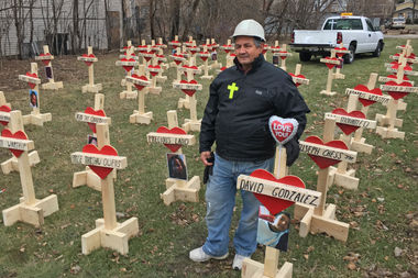 Greg Zanis at the memorial in the 5500 block of South Bishop Street