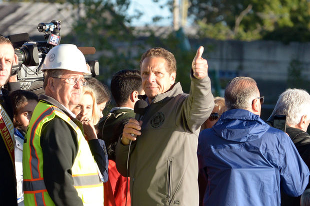 Gov. Andrew Cuomo gives a thumbs up while on a Department of Environmental Conservation boat following the successful implosion of the Kosciuszko Bridge on Oct. 1, 2017.