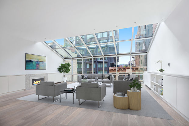 This four-bedroom, duplex penthouse in a new development at 6 Cortlandt Alley in TriBeCa is listed by Halstead for $8.975 million.