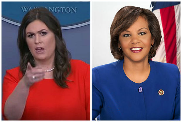 Sarah Huckabee Sanders, White House press secretary (left) was criticized by U.S. Rep. Robin Kelly after a comment about Chicago's gun laws in the wake of a mass shooting in Las Vegas.
