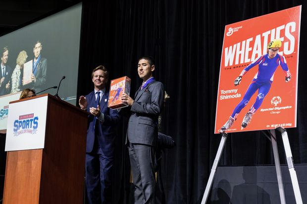 Speed skater Tommy Shimoda of Mount Greenwood became the first Special Olympics athlete to inducted into the Chicagoland Sports Hall of Fame Monday night. He was also presented with a commemorative Wheaties Cereal box with his picture on it.