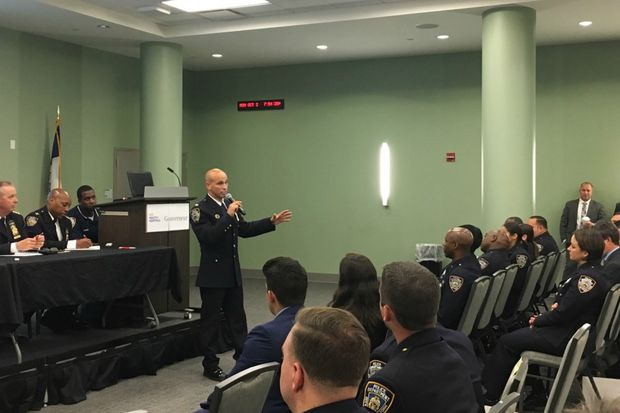 Deputy Inspector Steve Hellman introduces the 7th Precinct's newly launched NCO program.