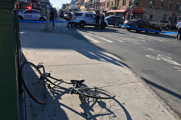 A cyclist was in critical condition after being struck by a dump truck in Williamsburg Tuesday, Oct. 3, 2017.