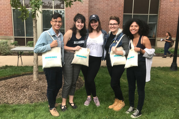 DePaul students affiliated with Students for Reproductive Justice prepare to distribute condoms outside the Student Center.