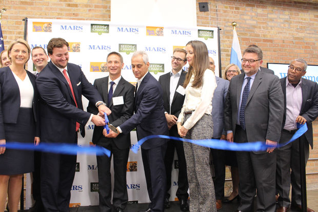 John Mars, Jarek Swigulski and Mayor Rahm Emanuel cut the ribbon for the new Mars Food headquarters on Goose Island.