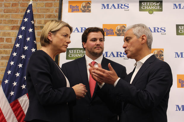 Mayor Rahm Emanuel (right) chats with Mars Food executives Fiona Dawson and John Mars after Thursday's ribbon-cutting ceremony.