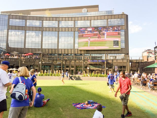 The Park at Wrigley features a large video screen.