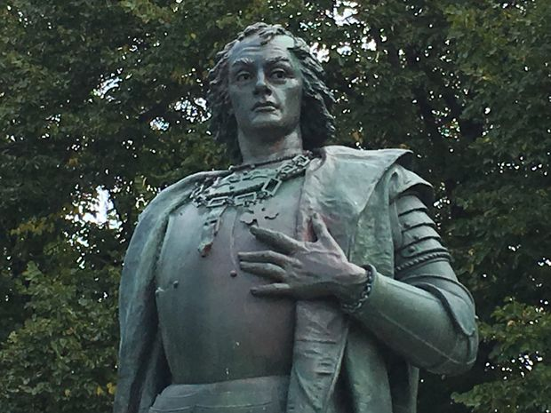 A statue of Christopher Columbus was vandalized early Saturday.