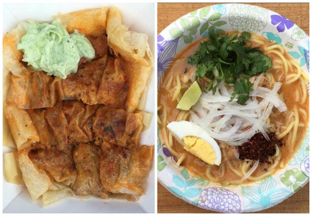 The menu at the new food cart will include Keema Palata, a grilled palata stuffed with minced chicken, onion and egg and topped with a cucumber yogurt sauce (left); and Ohno Kaukswe (right), a coconut chicken noodle soup.