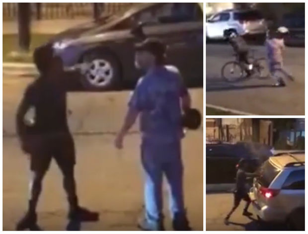 Two men were involved in a confrontation in Wicker Park. In the top right, the driver of the car hits the bicyclist in the head with what is believed to be a drum. On the bottom right, the bicyclist smashes the window of the driver's car.