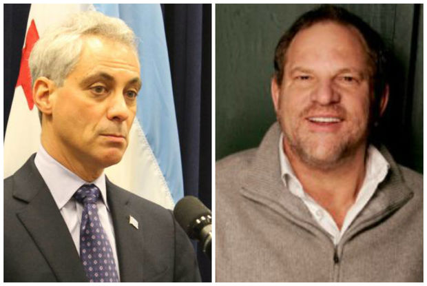 Mayor Rahm Emanuel, left,  Monday donated nearly $11,000 in campaign contributions fromdisgracedHollywood mogul Harvey Weinstein to a a group that counsels Chicago girls exposed to violence, his campaign spokesman said.