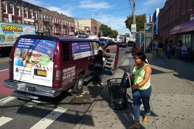A young girl was seriously injured Tuesday when a dollar van — large commuter vans that drive bus routes and pick up passengers for $2 a ride — struck her at the corner of Utica and Church avenues, pictured here.