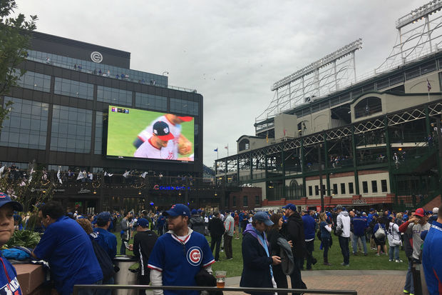The scene outside Game 4 at Wrigley Field