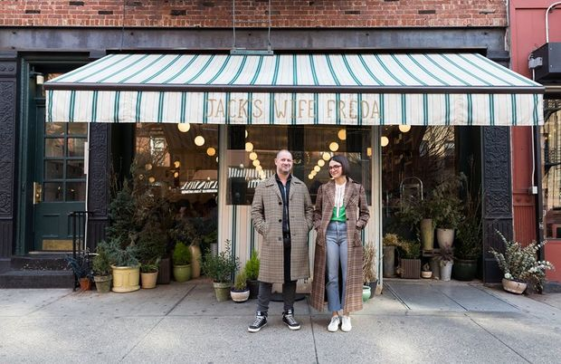Jack's Wife Freda co-owners Dean and Maya Jankelowitz outside their West Village outpost.