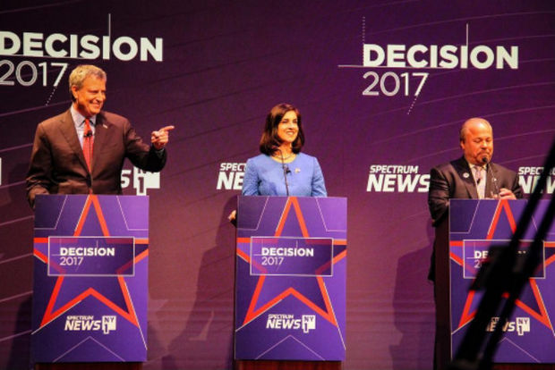 Mayor Bill de Blasio debated Assemblywoman Nicole Malliotakis and Bo Dietl for the first time.