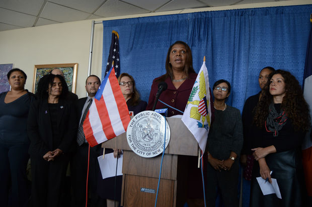 Tish James announces her preemptive plan for displaced hurricane victims in her office on Thursday.