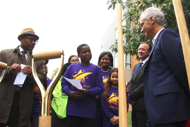 From right: Mayor Rahm Emanuel, Chicago Public Schools CEO Forrest Claypool, Skinner WEst principal Deborah Clark and Ald. Walter Burnett Jr. (27th) talk with students at the groundbreaking for a four-story expansion at the top-rated CPS school.