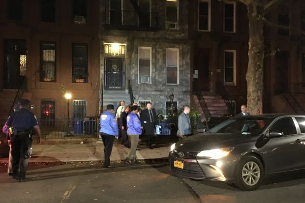 The 100-year-old woman whose husband was killed in a home invasion robbery in Bed-Stuy returned to the scene Thursday evening.