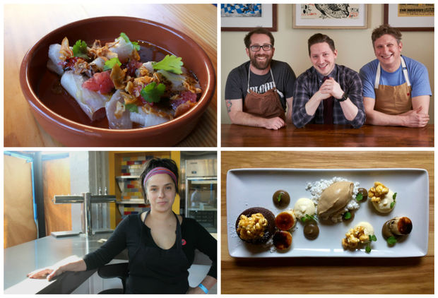 Logan Square restaurants Mi Tocaya (owner Diana Davila lower left), Quiote (agua chile dish upper left) , Giant (ownership team upper right) and Longman & Eagle (chocolate chili pudding cake dish lower right) were among 54 restaurants named in Michelin's Bib Gourmand list for 2018.