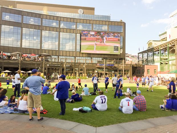 Cubs fans won't be able to watch Games 1 and 2 of the National League Championship Series on the big screen at the Park at Wrigley.