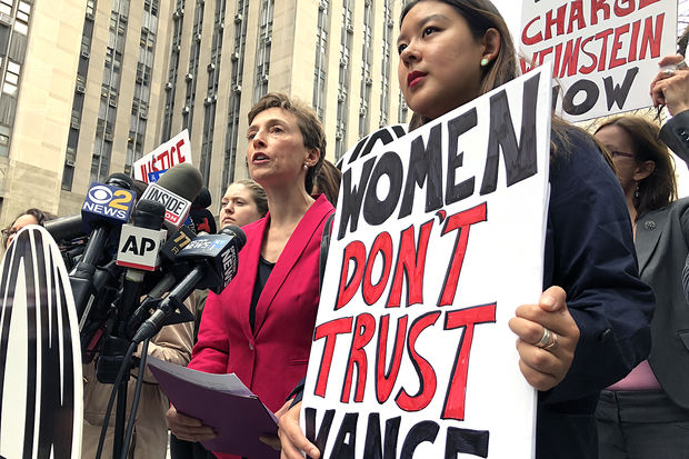 NOW spokeswoman Jane Manning said District Attorney Cyrus Vance should have charged Harvey Weinstein for groping Ambra Battilana Gutierrez in 2015. Manning spoke at a press conference across the street from Vance's office in New York Criminal Court on Friday, Oct. 13, 2017.