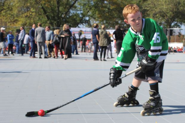 Patrick Coakley prepares for a shot on the new Chicago Blackhawks Hockey Rink at Kennedy Park. The outdoor rink opened Friday at 11320 S. Western Avenue in Morgan Park.