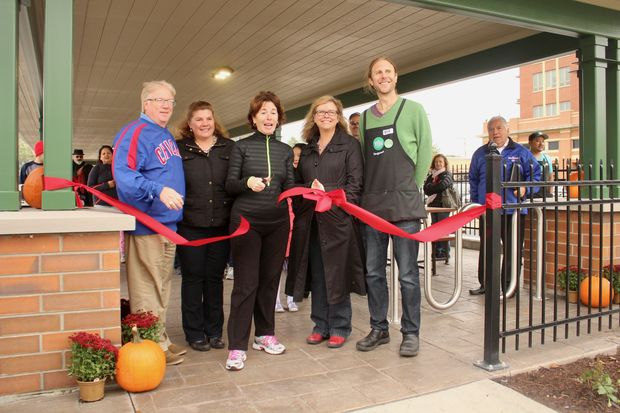 From left: Edgebrook Sauganash Chamber of Commerce president Dennis Hammer, Sauganash Elementary School principal Christine Munns, Ald. Margaret Laurino (39th), chamber director Jennifer Herren and Whole Foods Market Sauganash team leader Jeffrey Becker cut the ribbon on the new pavilion.