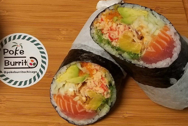 A poke-burrito is raw fish salad shaped like a sushi roll the size of a burrito. Prices range from about $10-$13.