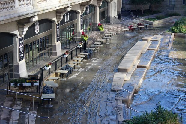 The Riverwalk is closed for cleaning west of Wabash Avenue following record rainfall this weekend.