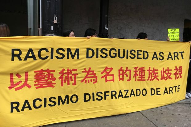 Protestors accused the James Cohan Gallery of hosting a racist exhibition that reduces the surrounding immigrant community to