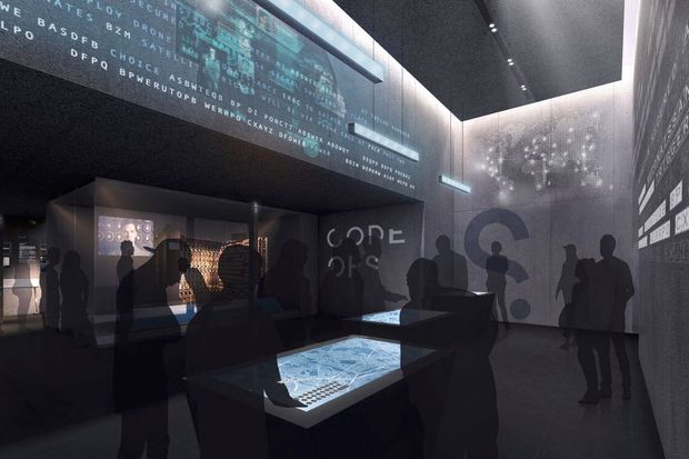 A rendering of one of the SPYSCAPE galleries.
