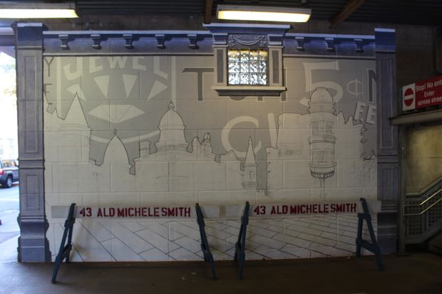 Artist Steven Carrelli's mural underneath the CTA Armitage station is nearing completion.