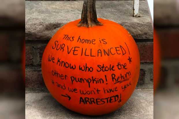 Jacqui Preston, 32, wrote the menacing message on her pumpkin over the weekend.
